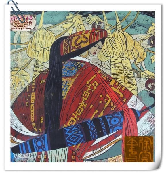 油印木刻版画 《牧羊女之二》蒙古族