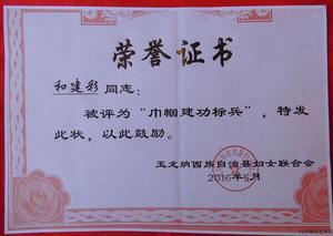 """白沙锦绣艺术院纳西族刺绣老师和建彩被授予""""巾帼建功标兵""""荣誉称号"""