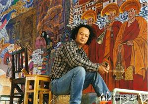 Zhang Chunhe, the best and most famous Naxi painter, the general art consultor of Baisha Naxi Embroidry Institutee